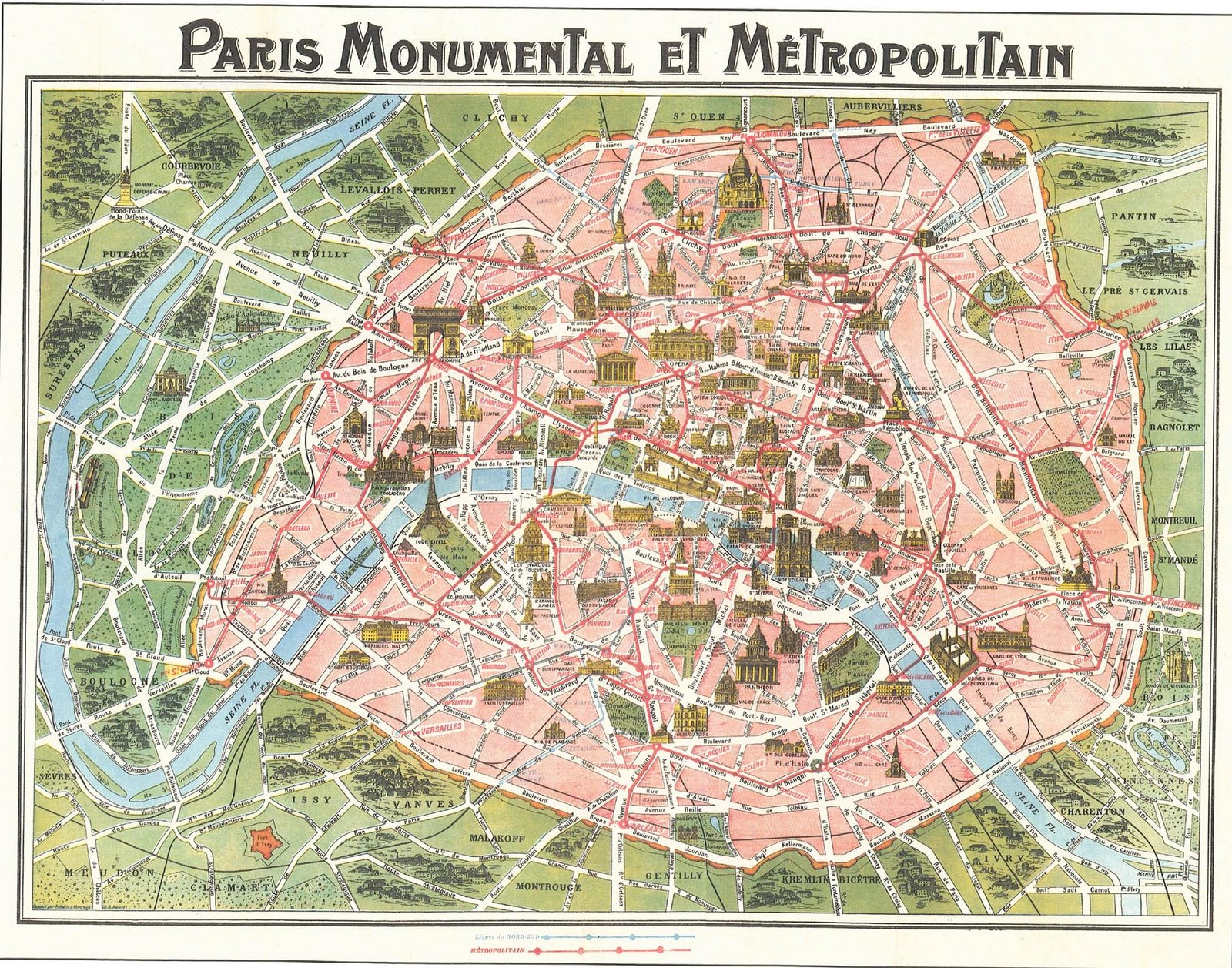 Map Of Paris Circa Victorian Paris - Paris map monuments