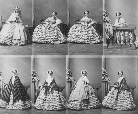A plate with eight portraits of Princess Lizaveta Trubetzkaya with different fashion accessories, 1858