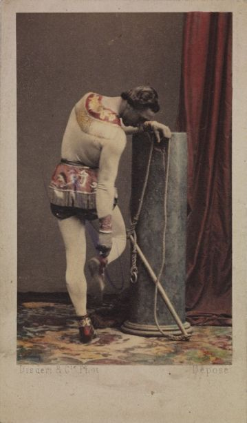 Monsieur Léotard with his trapeze, checking his plimsole, c.1865